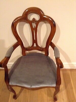 Antique Chair. Wooden Ornate Chaired. Fabric Needs Replacing. See Pictures