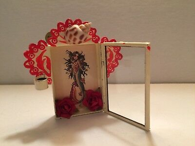 MINIATURE MERMAID SHADOW BOX handmade mexican folk art rose shell door opens 3""