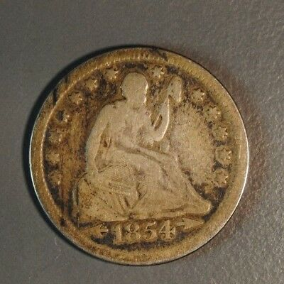 1854 Arrows 25C Seated Quarter Vf