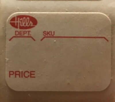 (5) Hills Department Store Price Tag Stickers - Vintage / Antique Pricing Labels
