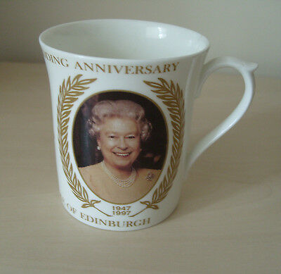 1997 Golden Wedding china mug of Queen &  Prince Philip by James Taylor