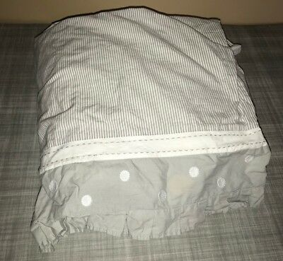 Pottery Barn Kids Taylor Gray White Stripe Dot Cribskirt Baby Nursery Decor Crib