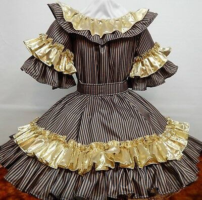 2 Piece Brown And Navy Stripe W/gold Lame' Square Dance Dress