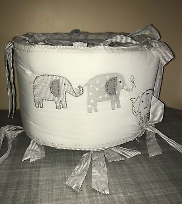 Pottery Barn Kids Taylor Elephant Bumper  Baby Nursery Decor Crib Organic