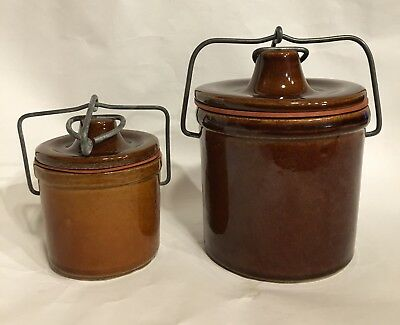 Vintage Brown Stoneware Cheese Butter Crock With Wire Bail Locking Lid Set Of 2