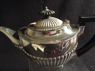 Antique Edwardian Sterling Silver Teapot Fluted Bottom 1903 Perfect.264 G