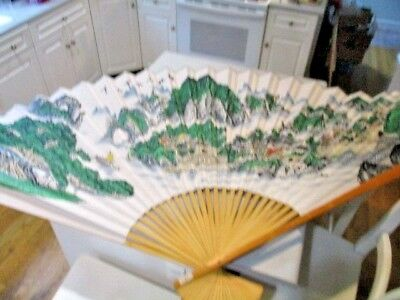 """Vintage Large Asian Gold Fan Wall Decor, Hand Painted, Cranes XL 85"""" X 49"""""""