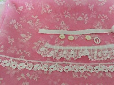 Pink Floral flocked Nylon Fabric/lining/ lace/ribbon/buttons doll kit
