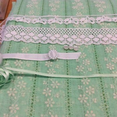 Green Cotton Voile Flocked Fabric/lining/ lace/ribbon/buttons doll kit