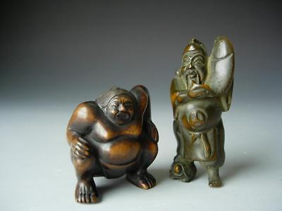 Lot Of Two Antique/vintage Japanese Wood Netsukes Of Sumo Wrestler & Scholar