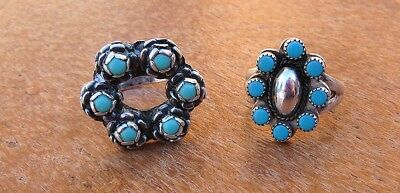 Lot Two Vtg Sterling Silver 925 Hand-Made Petit-Point Turquoise Cluster Rings