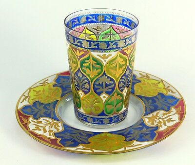 ! 1842-87 DAVIS COLLAMORE & CO. New York Enameled Glass Cup & Plate Set Tumbler