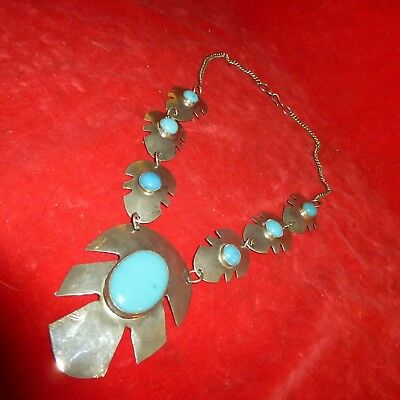 Rare Ca 1890 Native American Navajo Indian Wide Coin Silver Turquoise Necklace