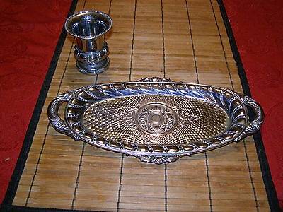 Vintage Metal Tray and Matching Goblet / Cup Made in Japan MTC  Textured Ornate