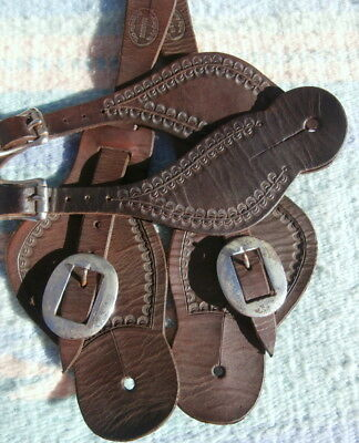 Two Pairs of Custom Made Antiqued Cowboy Spur Straps by Jerry Dyck