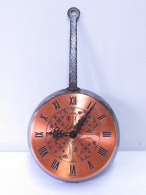 7A Vintage Retro Wall Clock COPPER - German made by EMES ~ Frying Pan Shape