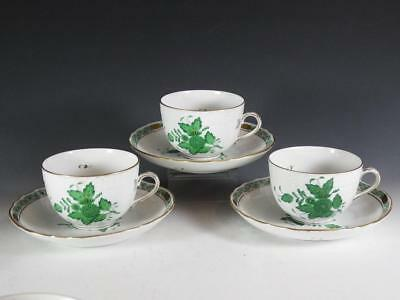 (3) Herend Chinese Bouquet Green Cups & Saucers