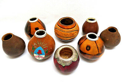 8 Pieces ~ Vintage 1960's Argentina Natural Gourds Yerba Mate Tea Cups