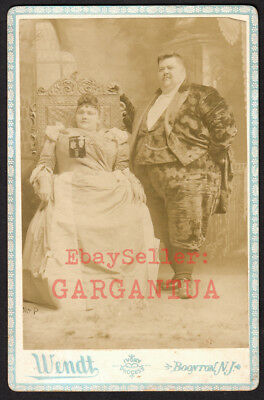 SIDESHOW LOVERS GIANT FAT MAN & WOMAN ~ 1800s WENDT CIRCUS FREAK VINTAGE PHOTO