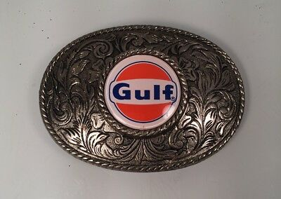 VINTAGE RARE GULF OIL LOGO BELT BUCKLE ~ Collectible Wearable VIVID Graphic