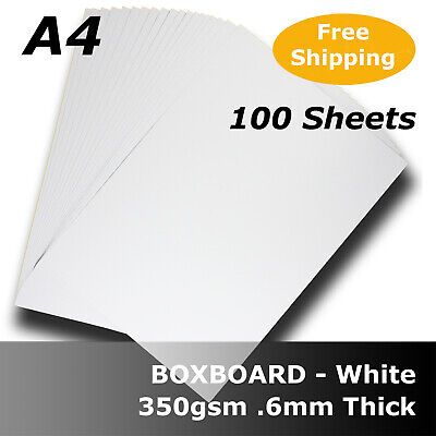 100 Sheets White Boxboard Packaging Card 0.6mm Thick A4 Size 350gsm #B3508