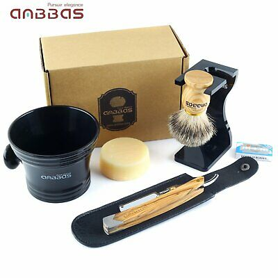 7 X Men Shaving Set Shave Badger Brush+ Holder +Soap+Bowl Mug +Razor+Blades Kit