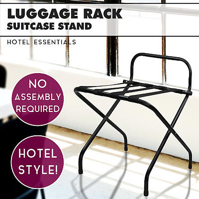 Black Folding Luggage Rack for Hotels Suitcase Rack Bag Storage Suitcase Stand