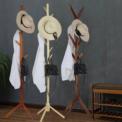 Wooden Coat Rack Hat Rack Stand Natural Clothes Hanger Cloth Rack Stand 172CM RO