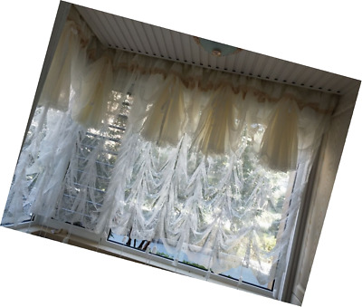 Vintage Victorian Style Curtain Valance White Lace Ruffle Embroidery Tie Up