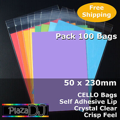 50x230mm CELLO Bags (100) PP Cellophane Crystal Clear Adhesive Lip #PR50230