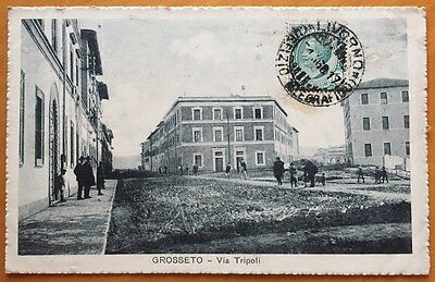 GROSSETO Via Tripoli - cartolina animata 1915ca