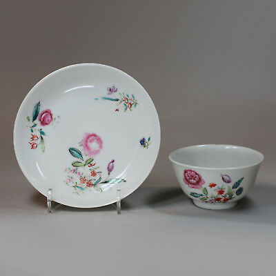 Antique Chinese famille-rose teabowl and saucer, Qianlong (1736-1795)