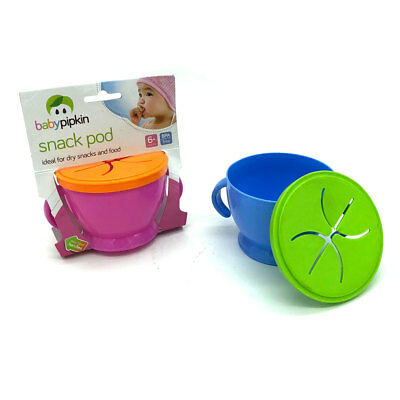 Baby Toddler Snack Pod Anti Spill Self-Feed Bowl Catcher Food Keeper Cup Bowl