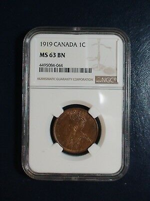 1919 Canada LARGE CENT NGC MS63 BN UNCIRCULATED 1C Coin PRICED TO SELL NOW!