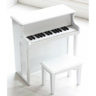 White Toy Wooden Piano 30 key Musical Instrument for Kids Children with Stool