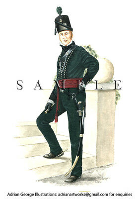 Napoleonic Print: Britain. Officer, 95th Foot Regiment (Rifles) 1815