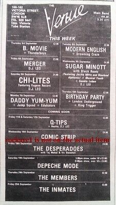 DEPECHE MODE UK TIMELINE Advert -  The Venue London 19-Sept-1981  8x3 inches