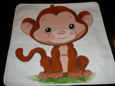 New Hand-painted Handmade Baby Nursery Decorative Pillow Cover Little Monkey