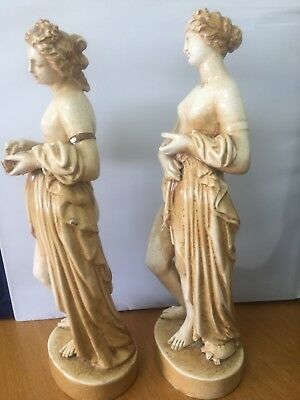 "Large 18"" Pair of Antique Pottery Figures Nude Venus Bathing Classical Style"