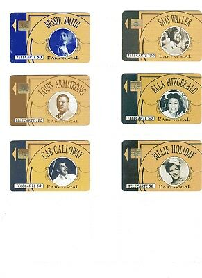 6 phone cards of Jazz Greats (French)