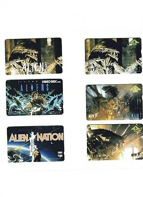 """6 phone cards of the Films """"ALIENS"""" (BT & Asian)"""