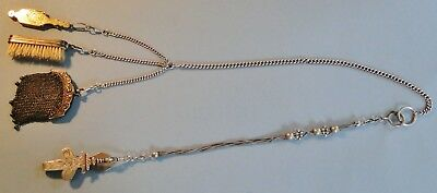 Antique French Solid Silver Chatelaine Purse Glasses Brush Unusually Long 166 Gr