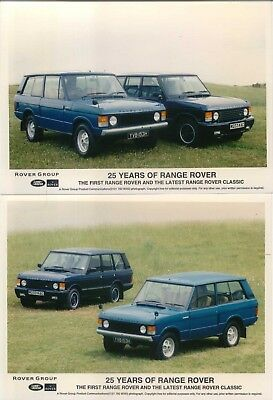 Range Rover 25 Years x 2 original colour Press Photos each illustrating two cars