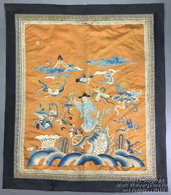 Chinese Embroidered Silk Panel, Scholar, Dragon Fish, Waves, Clouds, Bat, 19th C