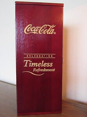 """Old Coca Cola """"timeless Refreshment"""" Solid Crystal Bottle Mint In Wooden Box"""