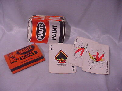 Vintage Playing Cards and Matchbook from MAUTZ PAINT Freeport IL Oldies Complete