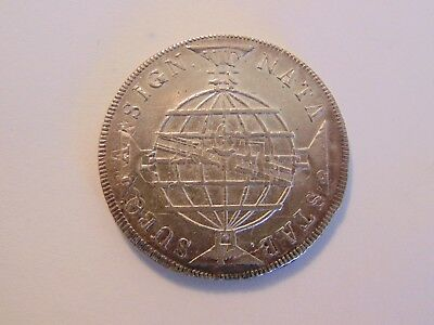 error coin 1818 Brazil SILVER 960 REIS   STRUCK OVER  1796 SPANISH SILVER 8 REAL