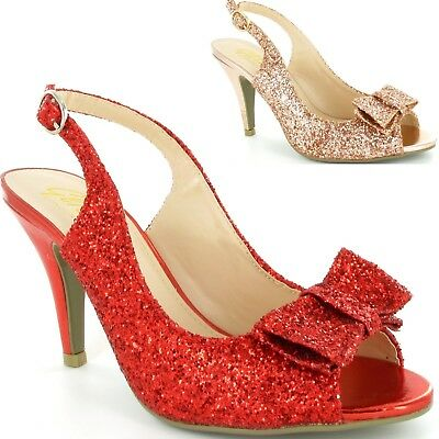 8500ff36583 Womens Ladies Sling Back High Heels Glitter Bow Peep Toe Party New Shoes  Size