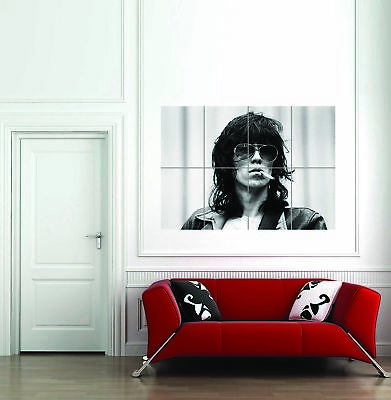 Keith Richards Rolling Stones Smoking Portrait B&W Giant Art Poster