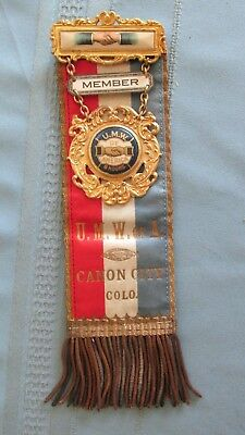 Canon City Colorado United Mine Workers Of America Badge & Ribbon-Mining-Miners